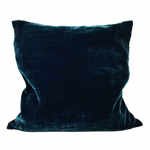 Silk Velvet & Linen Cushion - Topaz